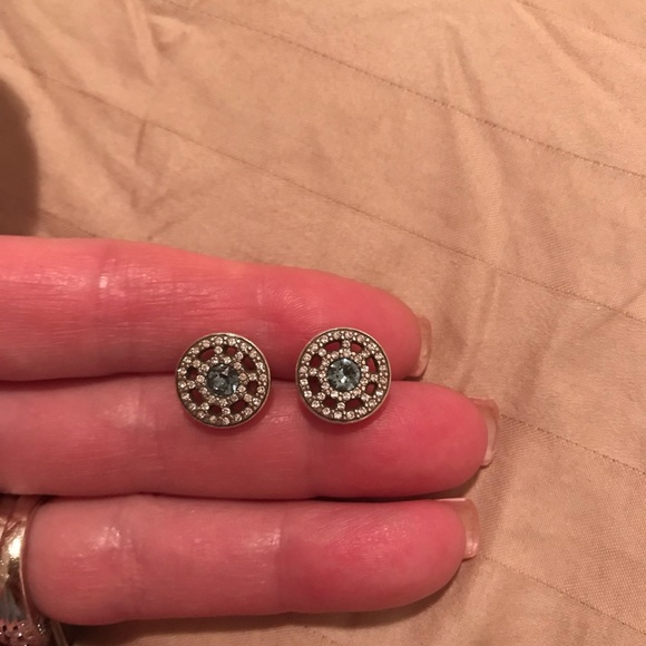 Brighton Jewelry - Silver earrings with blue center stone.  NWOT